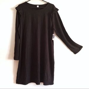 NWT! Old Navy Black Ruffle Shoulder Dress